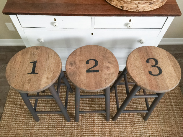 dark gray numbered stools